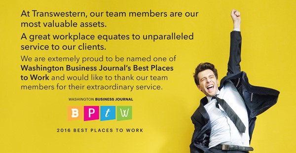"<span class=""blue1618""><strong>Washington Business Journal Names Transwestern Among 2016 Best Places to Work</strong></span><br/><a href=""http://team.transwestern.net/Media/News/Pages/WASHINGTON-BUSINESS-JOURNAL-NAMES-TRANSWESTERN-AMONG-2016-BEST-PLACES-TO-WORK.aspx"" class=""green1416"">Click here to read more</a>"