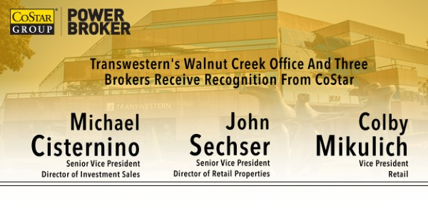 "<span class=""blue1618""><strong>CoStar honors the Transwestern Walnut Creek office and three brokers with the Power Broker designation</strong></span><br/><a href=""http://team.transwestern.net/Media/News/Pages/TRANSWESTERNS-WALNUT-CREEK-OFFICE-AND-THREE-BROKERS-RECEIVE-RECOGNITION-FROM-COSTAR.aspx"" class=""green1416"">Click here to read more</a>"